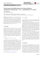 Measurement of the differential cross section and charge asymmetry for inclusive [Formula