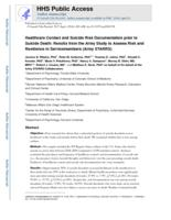 Health care contact and suicide risk documentation prior to suicide death