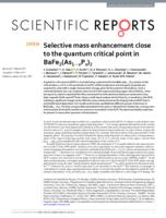 Selective mass enhancement close to the quantum critical point in BaFe(As P  ).