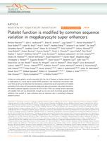 Platelet function is modified by common sequence variation in megakaryocyte super enhancers.