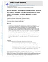 Parental perception of child weight and inflammation