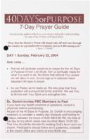 40 Days Of Purpose 7-Day Payer Guide