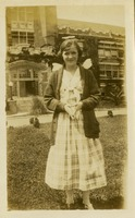 Unidentified Woman as Angel in Front of Administration Building