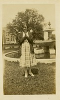 Unidentified Woman as Angel in Front of Fountain