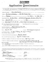 Application for Certification of the Florida State University Archaeological Field School, Fall Semester 2001