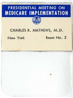 Name badge of Charles R. Mathews