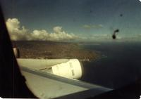 View of shoreline from a plane window