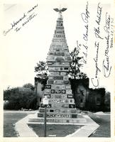 Inscribed photograph of the Monument of States by the architect