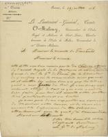 Letter from the military department to the Vicount of Foncaude