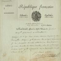 Letter from the Army of the French Republic regarding General Macdonald