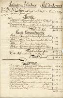 Berwick Regiment list of revenue and expenses. 1771 to 1772