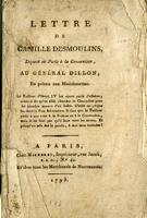 Letter from Camille Desmoulins to General Arthur Dillon