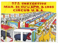 Circus Fans of American convention depicting animals in cages. 1985