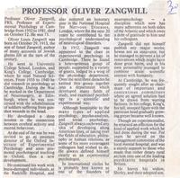 Obituary of Professor Oliver Zangwill