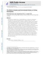 Effects of Genetic and Environmental Factors on Writing Development.