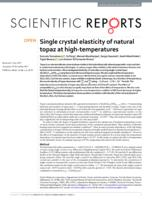Single crystal elasticity of natural topaz at high-temperatures.