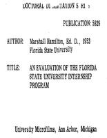 AN EVALUATION OF THE FLORIDA STATE UNIVERSITY INTERNSHIP PROGRAM