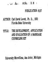 THE DEVELOPMENT, APPLICATION AND EVALUATION OF A MARRIAGE COUNSELING KIT