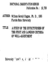 A STUDY OF THE EFFECTIVENESS OF THE STOUT AND LANGDON CRITERIA OF WELL-ADJUSTMENT