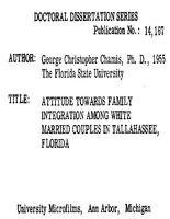 ATTITUDE TOWARDS FAMILY INTEGRATION AMONG WHITE MARRIED COUPLES IN TALLAHASSEE, FLORIDA