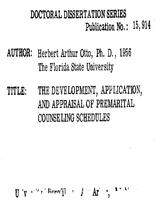 THE DEVELOPMENT, APPLICATION, AND APPRAISAL OF PREMARITAL COUNSELING SCHEDULES