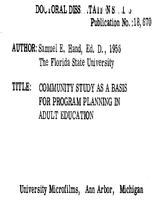 COMMUNITY STUDY AS A BASIS FOR PROGRAM PLANNING IN ADULT EDUCATION