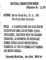 Classification and analysis of incidents of good and of poor school citizenship, together with the reasons therefor