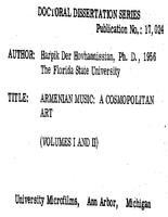 ARMENIAN MUSIC: A COSMOPOLITAN ART (VOLUMES I AND II)