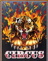 Circus poster of tiger jumping through flames