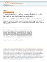 Tropical peatland carbon storage linked to global latitudinal trends in peat recalcitrance.