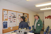 Two Men Viewing Classification of Grouper Fish