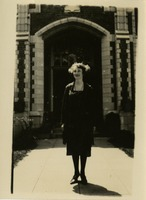 Woman In Front of Campus Building