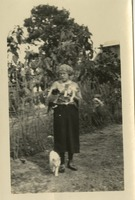 Woman Outside With Cats
