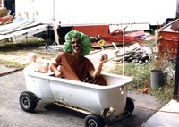 Clown in mobile bathtub