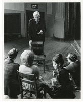 Theatre Production Photograph Showing a Groups Actors Possibly Receiving Instruction from an Author Mark Van Doren Onstage