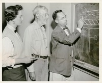 Two Students and a Professor Working at the Blackboard