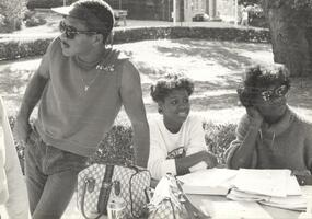 African American Students studying outside Strozier Library