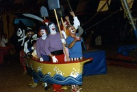 Clowns performing as pirates