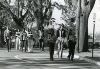 Students Walking in the Street because Sidewalks are under Construction