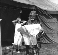 Emmett Kelly in clown costume with another clown