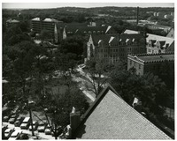 View of Broward, Gilchrist and Landis Halls from above Dodd Hall
