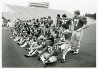 The Football Team Lining Up for a Photograph
