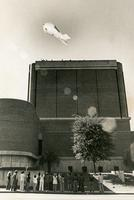 Blimp Flying over the Fine Arts Building