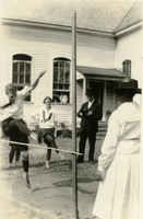Woman Practicing the High Jump