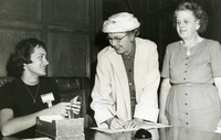 Irene Reed and Two Unidentified Women at an Alumni Event