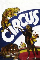 Circus poster of a tiger, lion, and horse