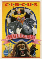 Circus Mullens poster--clown on elephant