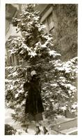 Woman posed in front of a snowy tree