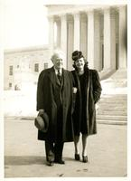 Howard Chandler Christy with Mildred Pepper in front of the United States Supreme Court Building