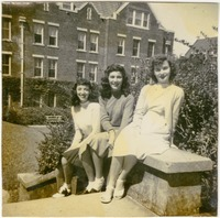 Dottie, Nancy, and Lillian Sitting on a Stair Railing Outside